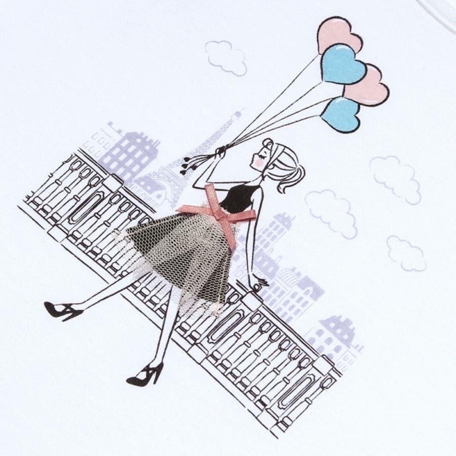子供服 女の子 Tシャツ 半袖 普段着 ベビーサイズ綿100%女の子&風船プリントフリル袖リボン付き ピンク オフホワイト 80cm90cm むーのんのん moononnon 8