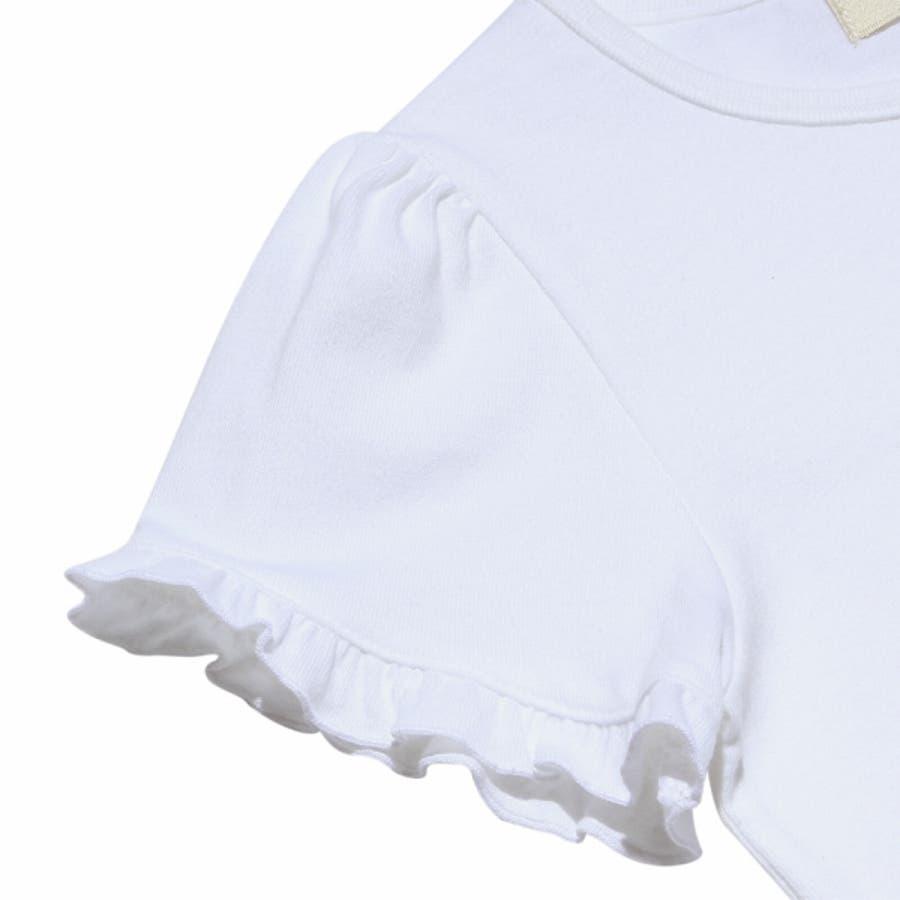 子供服 女の子 Tシャツ 半袖 普段着 ベビーサイズ綿100%女の子&風船プリントフリル袖リボン付き ピンク オフホワイト 80cm90cm むーのんのん moononnon 9