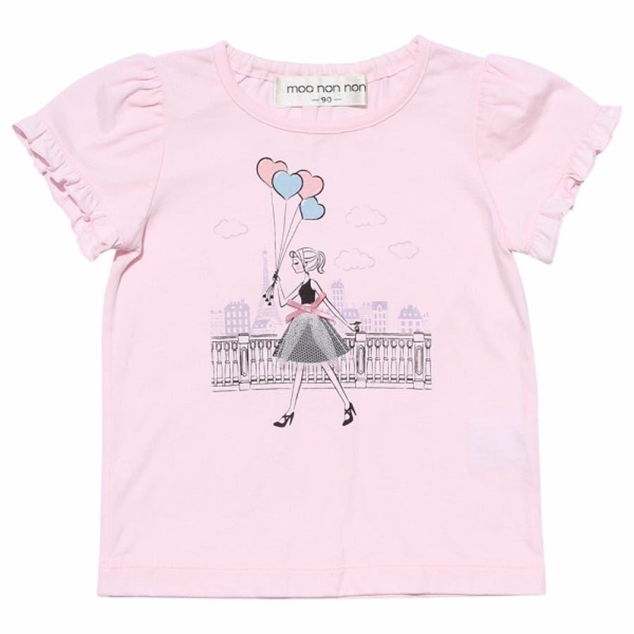 子供服 女の子 Tシャツ 半袖 普段着 ベビーサイズ綿100%女の子&風船プリントフリル袖リボン付き ピンク オフホワイト 80cm90cm むーのんのん moononnon 2