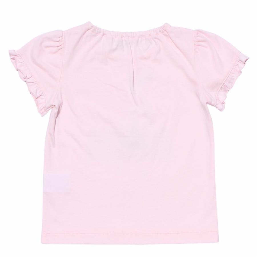 子供服 女の子 Tシャツ 半袖 普段着 ベビーサイズ綿100%女の子&風船プリントフリル袖リボン付き ピンク オフホワイト 80cm90cm むーのんのん moononnon 3