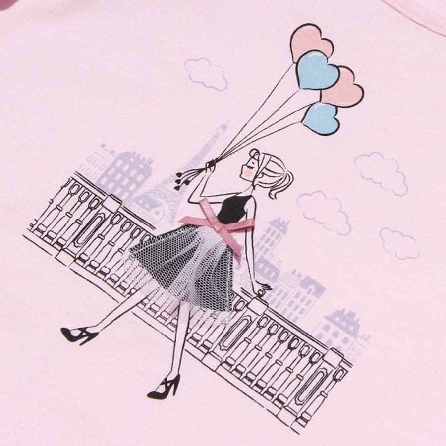 子供服 女の子 Tシャツ 半袖 普段着 ベビーサイズ綿100%女の子&風船プリントフリル袖リボン付き ピンク オフホワイト 80cm90cm むーのんのん moononnon 4