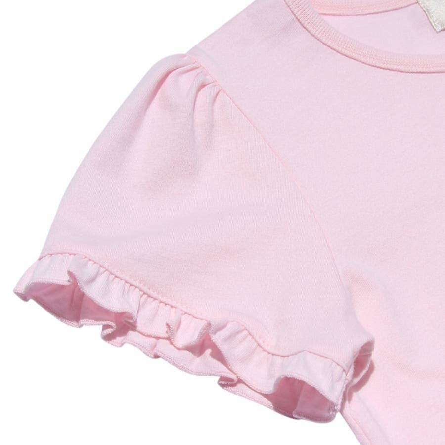 子供服 女の子 Tシャツ 半袖 普段着 ベビーサイズ綿100%女の子&風船プリントフリル袖リボン付き ピンク オフホワイト 80cm90cm むーのんのん moononnon 5