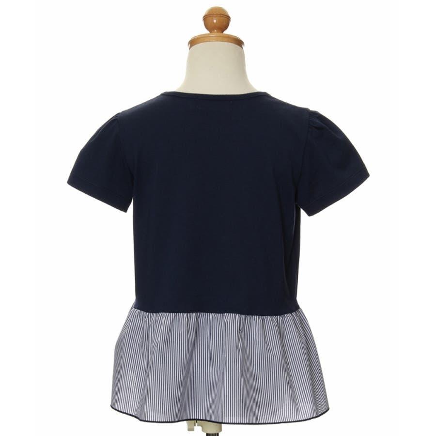 子供服 女の子 Tシャツ 半袖 普段着 通学着 ストライプ柄切り替えギャザーフリル&リボンつき ネイビー オフホワイト 100cm110cm 120cm 130cm 140cm 150cm 160cm 【むーのんのん moononnon】 3