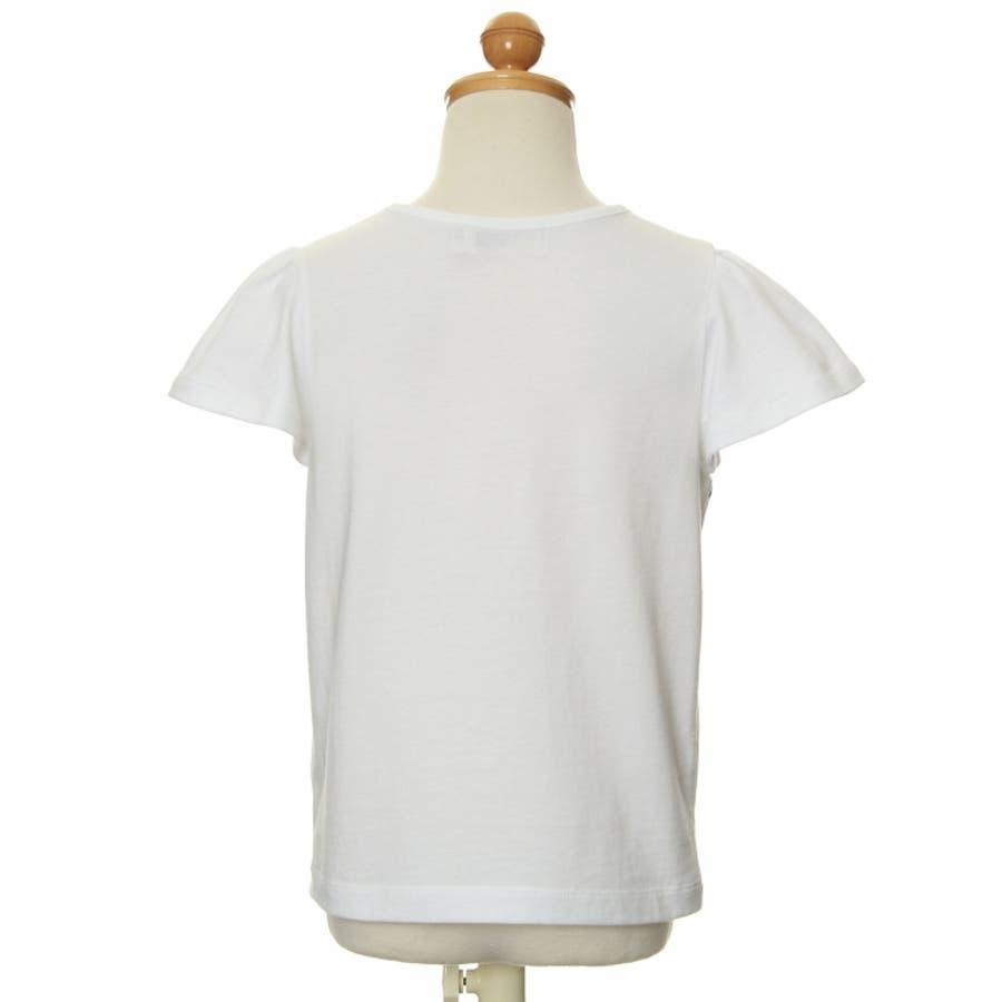 子供服 女の子 Tシャツ 半袖 普段着 通学着 綿100%リボン付きフレアースリーブトリコロールカラー オフホワイト 100cm110cm 120cm 130cm 140cm 150cm 【むーのんのん moononnon】 3