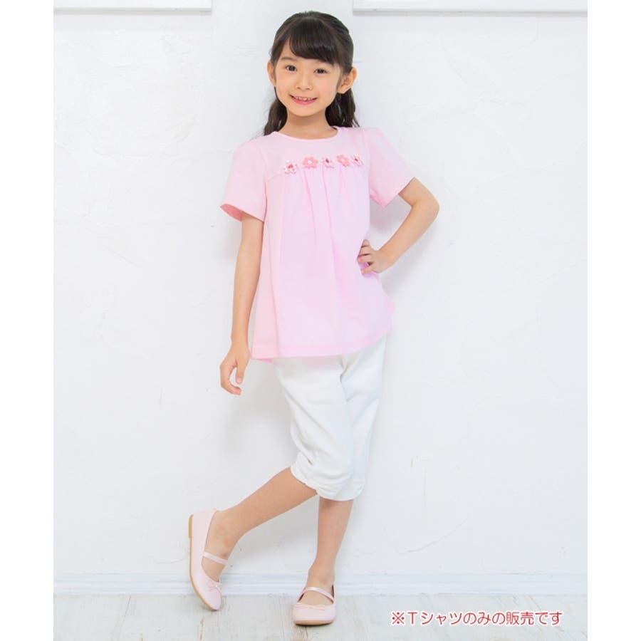 子供服 女の子 Tシャツ 半袖 普段着 通学着 ストライプ柄切り替えお花つきAライン ピンク オフホワイト 100cm 110cm120cm 130cm 140cm 150cm 【むーのんのん moononnon】 9