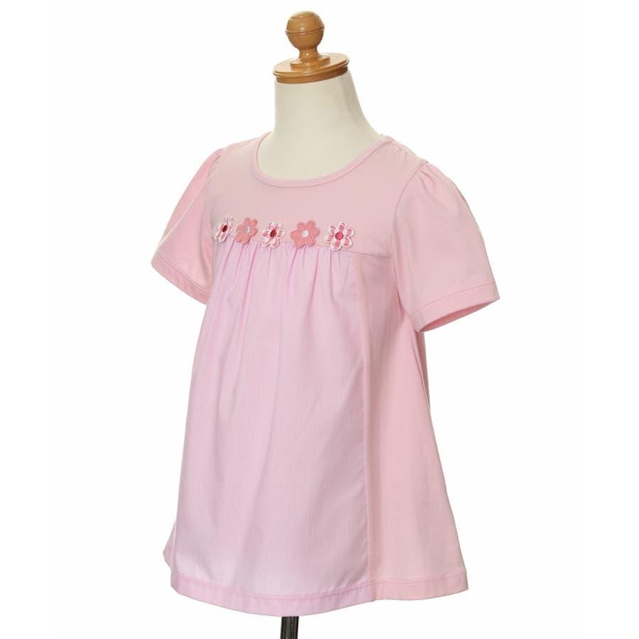 子供服 女の子 Tシャツ 半袖 普段着 通学着 ストライプ柄切り替えお花つきAライン ピンク オフホワイト 100cm 110cm120cm 130cm 140cm 150cm 【むーのんのん moononnon】 4