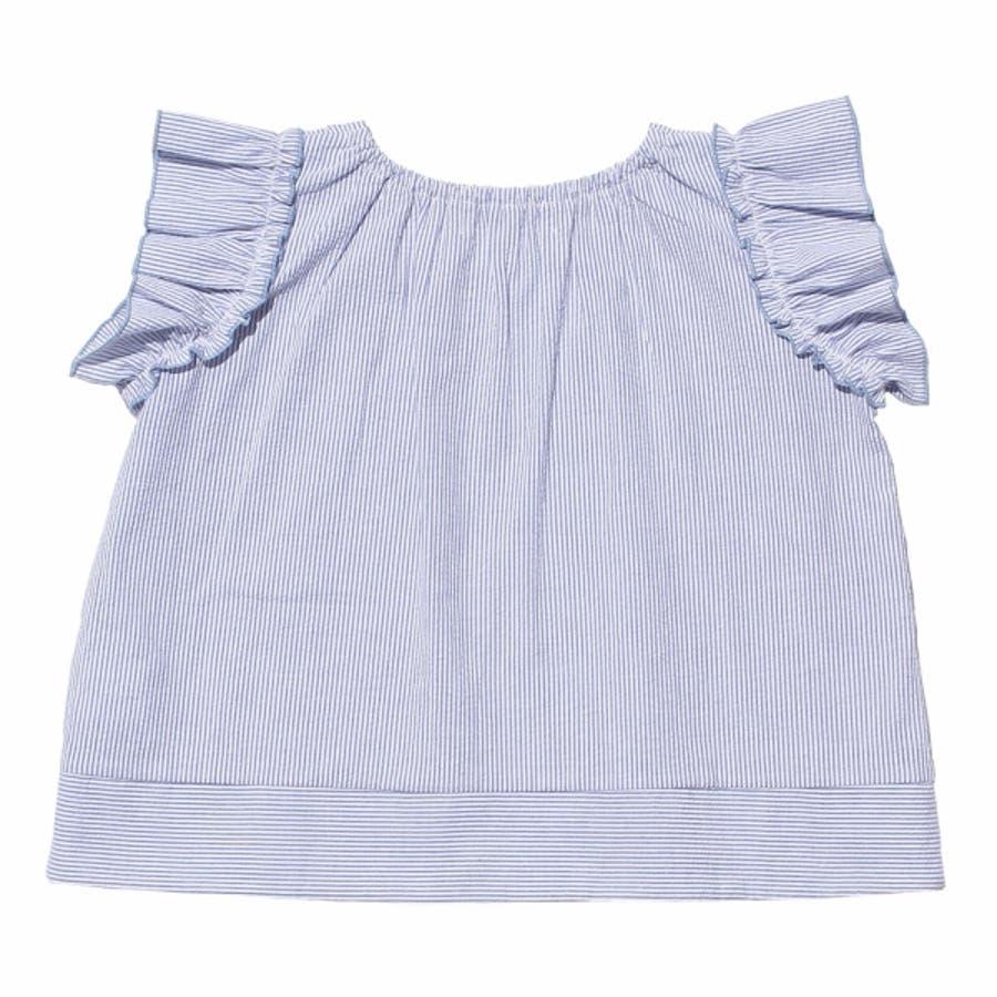 子供服 女の子 Tシャツ 半袖 普段着 通学着 サッカー素材ストライプ柄音符刺繍フリル袖 ブルー 120cm 130cm 140cm150cm 160cm 【む−のんのん moononnon】 6