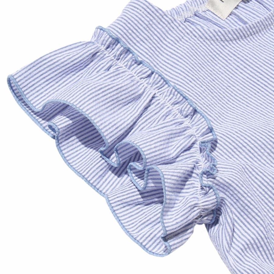 子供服 女の子 Tシャツ 半袖 普段着 通学着 サッカー素材ストライプ柄音符刺繍フリル袖 ブルー 120cm 130cm 140cm150cm 160cm 【む−のんのん moononnon】 8