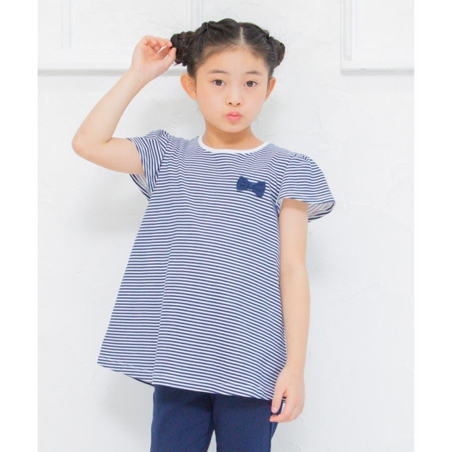 子供服 女の子 Tシャツ 半袖 普段着 通学着 綿100%ボーダー柄バックリボンつきAライン ネイビー 130cm 140cm150cm 160cm 【むーのんのん moononnon】 7
