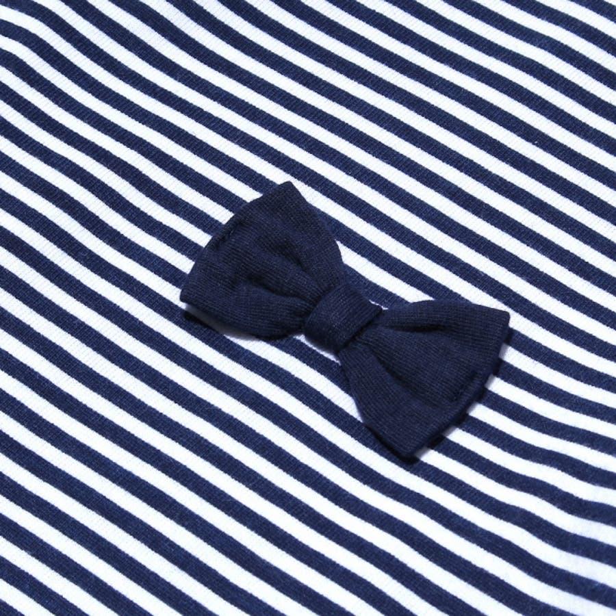 子供服 女の子 Tシャツ 半袖 普段着 通学着 綿100%ボーダー柄バックリボンつきAライン ネイビー 130cm 140cm150cm 160cm 【むーのんのん moononnon】 4