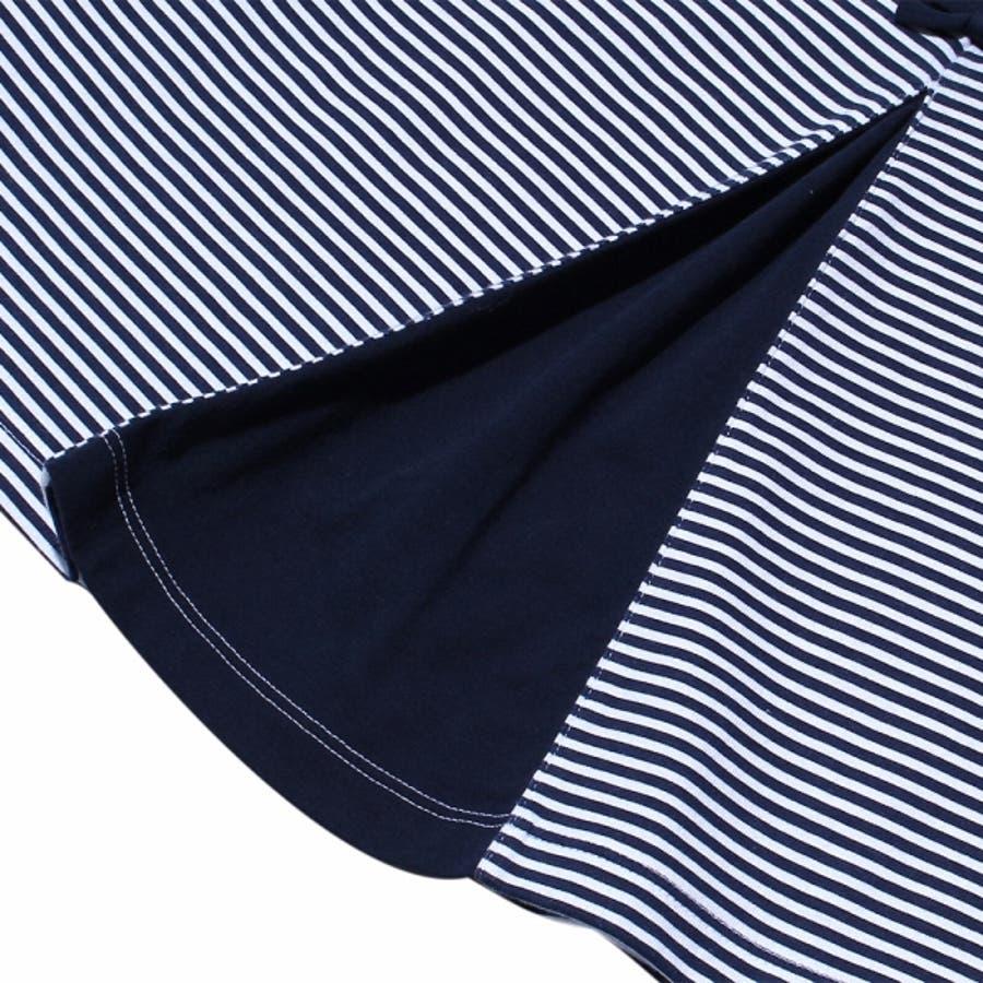 子供服 女の子 Tシャツ 半袖 普段着 通学着 綿100%ボーダー柄バックリボンつきAライン ネイビー 130cm 140cm150cm 160cm 【むーのんのん moononnon】 5