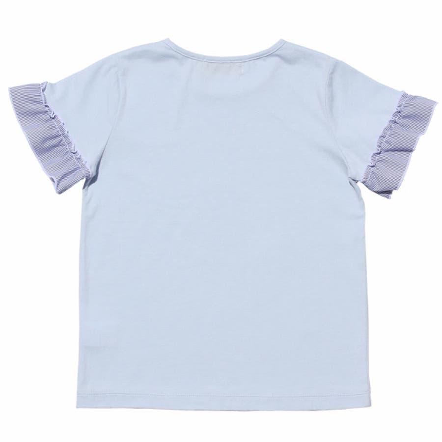 子供服 女の子 Tシャツ 半袖 普段着 通学着 綿100%音符刺繍ストライプ柄フリルつき オフホワイト ブルー 130cm 140cm150cm 160cm 【むーのんのん moononnon】 9