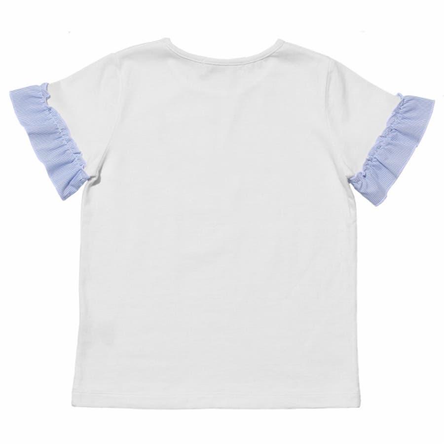 子供服 女の子 Tシャツ 半袖 普段着 通学着 綿100%音符刺繍ストライプ柄フリルつき オフホワイト ブルー 130cm 140cm150cm 160cm 【むーのんのん moononnon】 3
