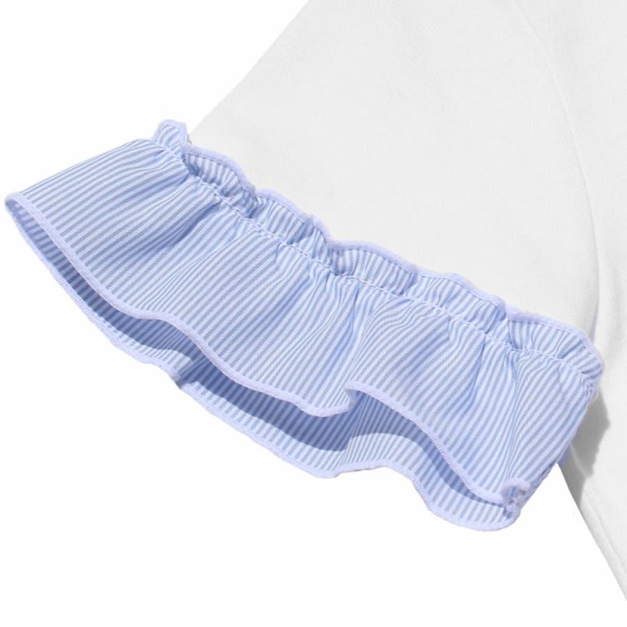 子供服 女の子 Tシャツ 半袖 普段着 通学着 綿100%音符刺繍ストライプ柄フリルつき オフホワイト ブルー 130cm 140cm150cm 160cm 【むーのんのん moononnon】 5
