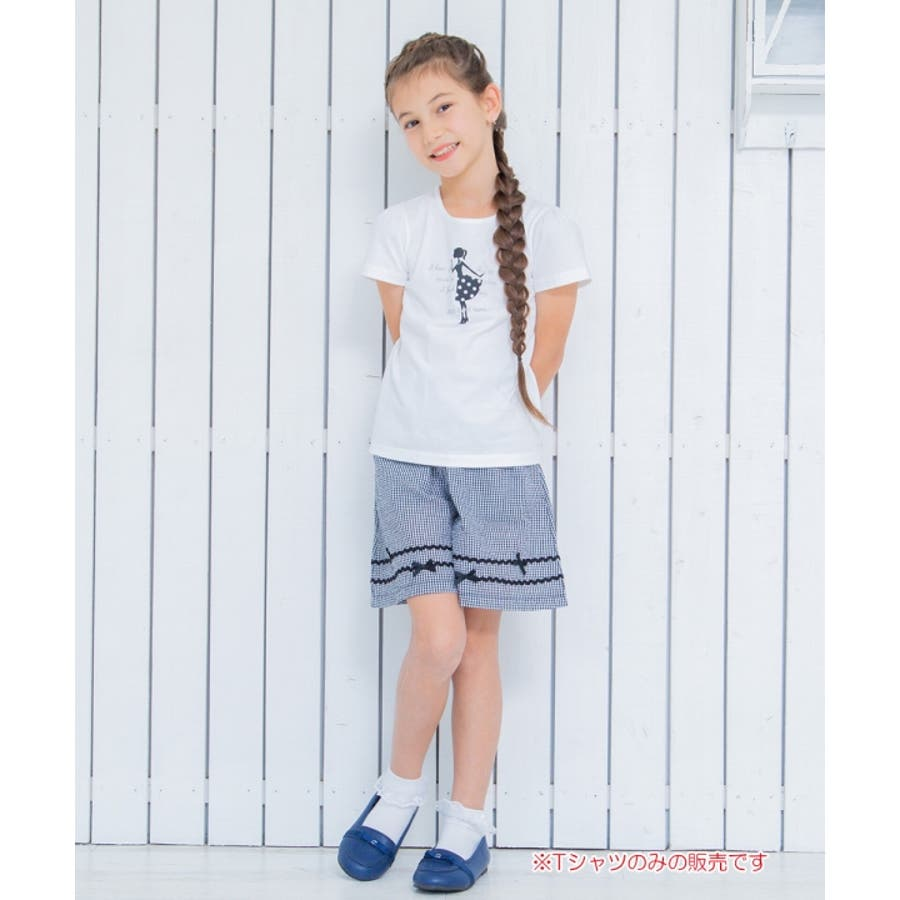 子供服 女の子 Tシャツ 半袖 普段着 通学着 綿100%女の子&ロゴプリント ピンク オフホワイト 120cm 130cm140cm 150cm 160cm 【むーのんのん moononnon】 10