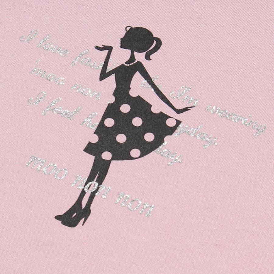 子供服 女の子 Tシャツ 半袖 普段着 通学着 綿100%女の子&ロゴプリント ピンク オフホワイト 120cm 130cm140cm 150cm 160cm 【むーのんのん moononnon】 4