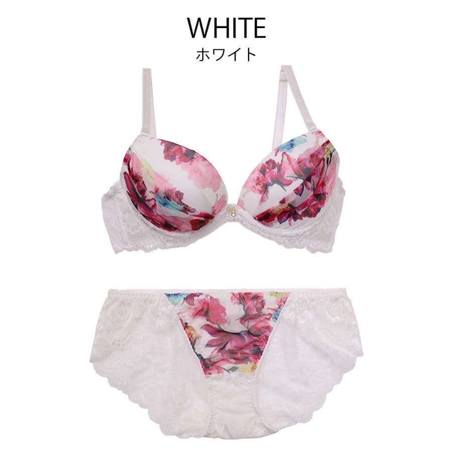 下着女性 上下セット ブラ セット ブラセット ブラジャー ショーツセット 花柄 ブラック ホワイトワインレッド 9