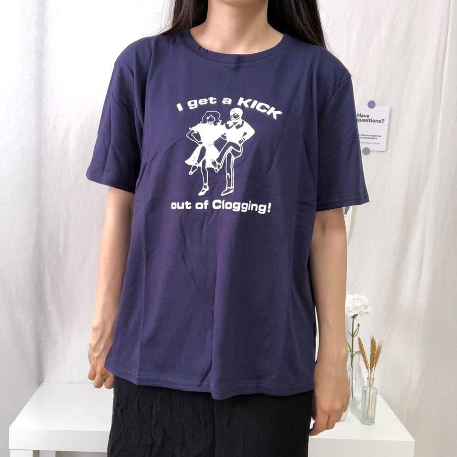 ダンスTシャツ Tシャツ ダンス レトロ 夏 カジュアル ゆるT プチプラ 韓国 オルチャン  9