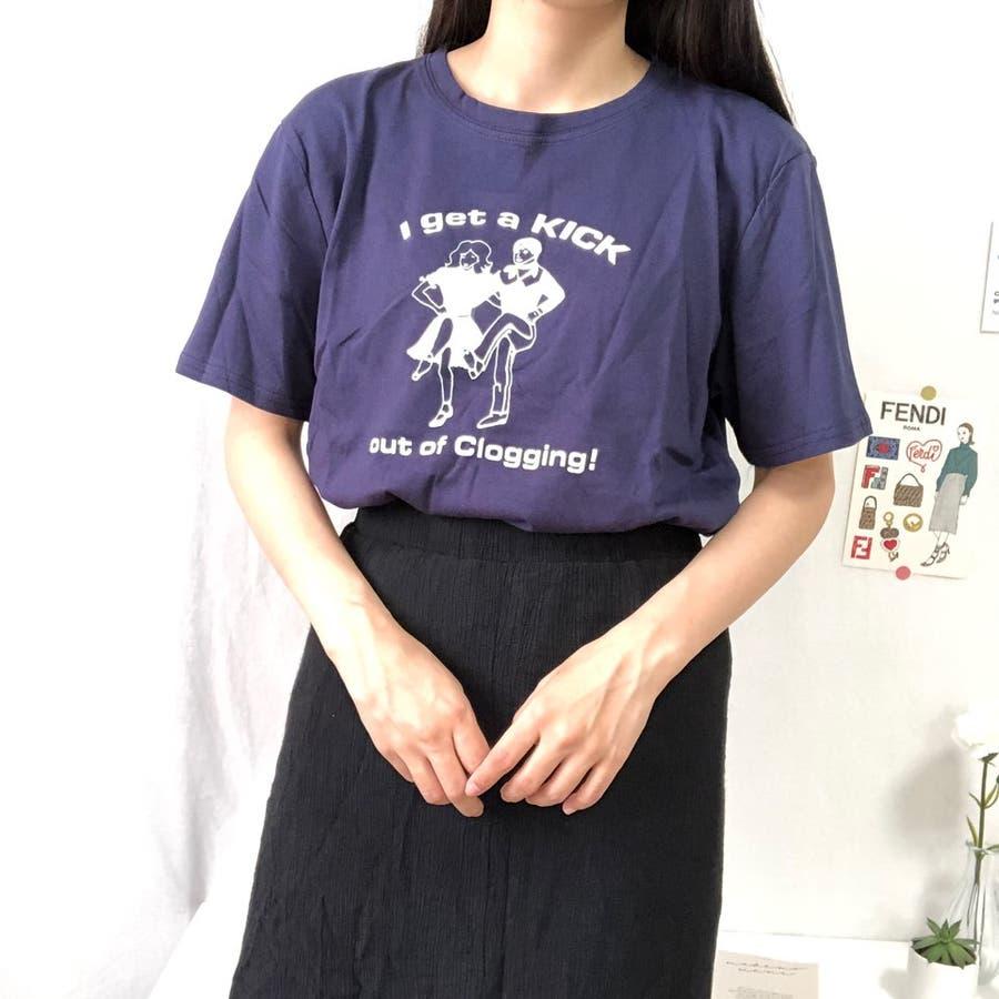 ダンスTシャツ Tシャツ ダンス レトロ 夏 カジュアル ゆるT プチプラ 韓国 オルチャン  76