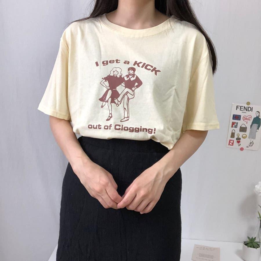ダンスTシャツ Tシャツ ダンス レトロ 夏 カジュアル ゆるT プチプラ 韓国 オルチャン  101