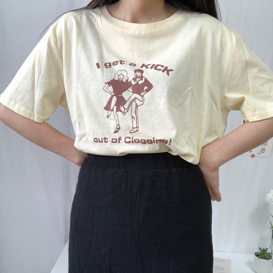 ダンスTシャツ Tシャツ ダンス レトロ 夏 カジュアル ゆるT プチプラ 韓国 オルチャン  5