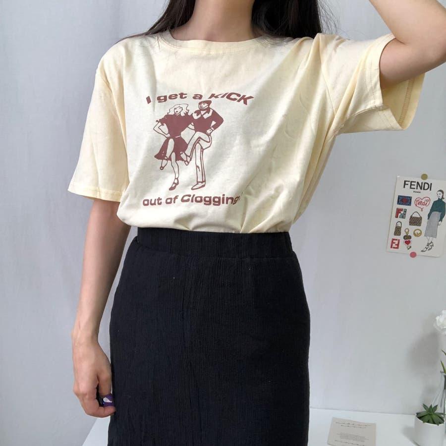 ダンスTシャツ Tシャツ ダンス レトロ 夏 カジュアル ゆるT プチプラ 韓国 オルチャン  6