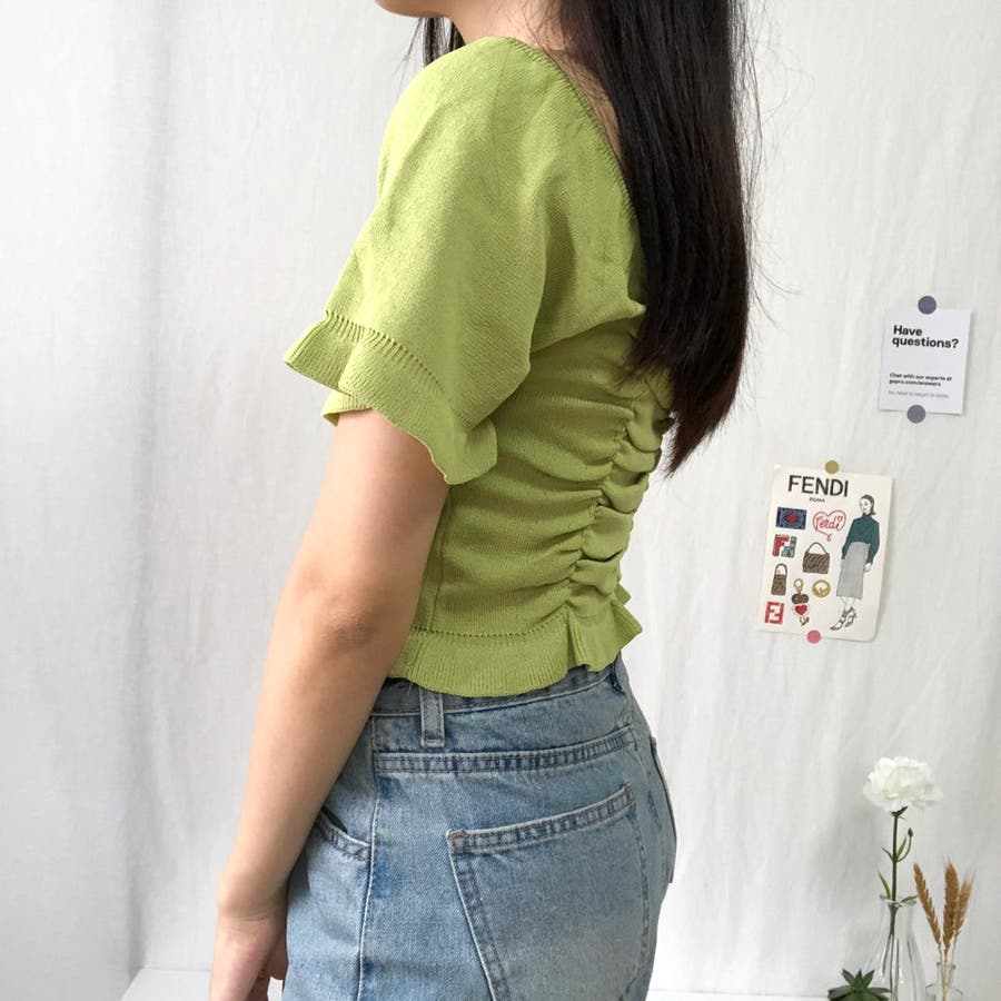 シャーリングトップス 可愛い 韓国 シャーリング シワ加工 ショート ショート丈 オフショル オルチャン 6
