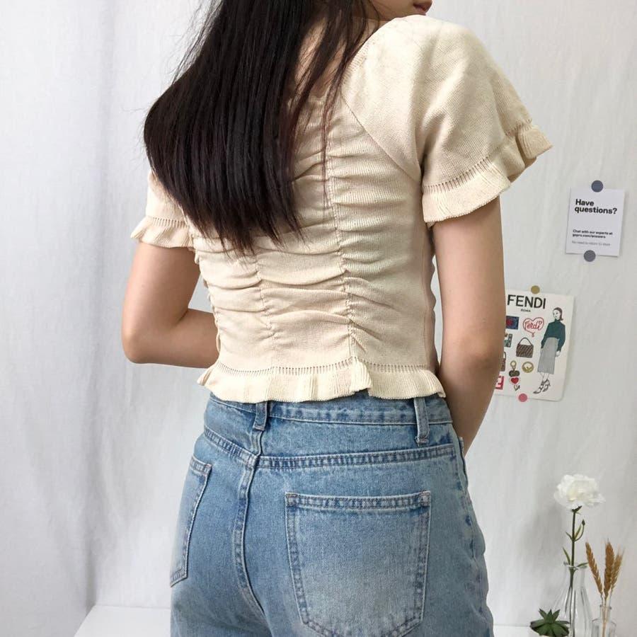 シャーリングトップス 可愛い 韓国 シャーリング シワ加工 ショート ショート丈 オフショル オルチャン 4