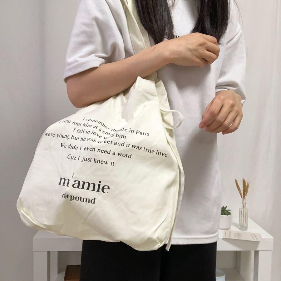 紐付きトートバッグ トートバッグ バッグ トート エコバッグ お買い物バッグ プチプラ 大容量 韓国 シンプル 可愛い 4