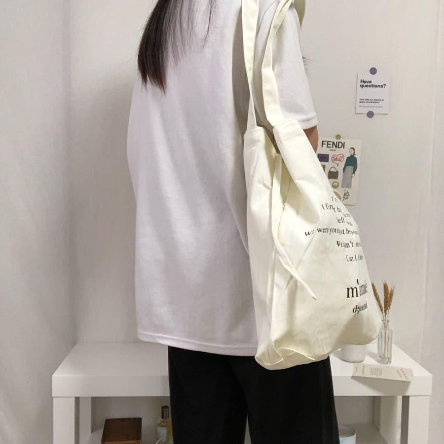 紐付きトートバッグ トートバッグ バッグ トート エコバッグ お買い物バッグ プチプラ 大容量 韓国 シンプル 可愛い 3