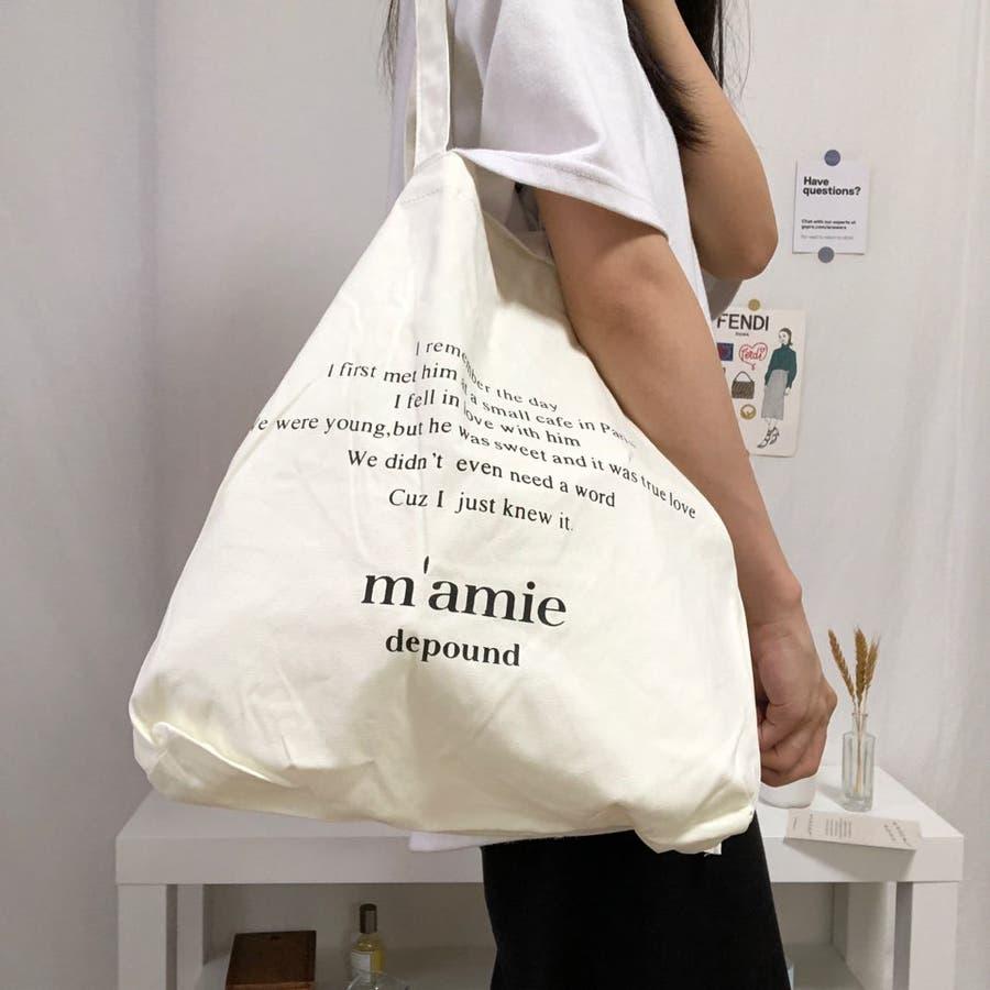 紐付きトートバッグ トートバッグ バッグ トート エコバッグ お買い物バッグ プチプラ 大容量 韓国 シンプル 可愛い 5