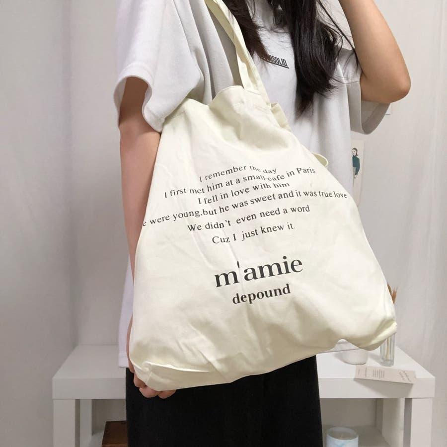 紐付きトートバッグ トートバッグ バッグ トート エコバッグ お買い物バッグ プチプラ 大容量 韓国 シンプル 可愛い 20