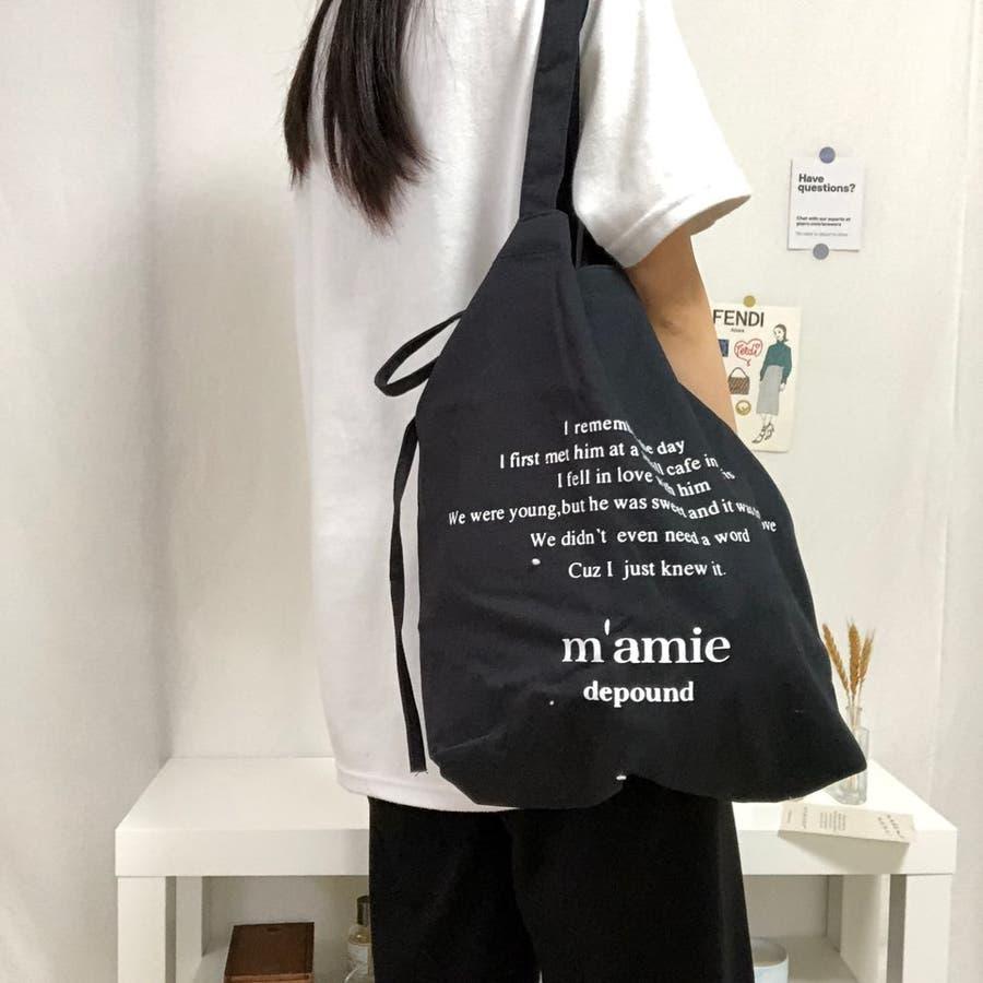 紐付きトートバッグ トートバッグ バッグ トート エコバッグ お買い物バッグ プチプラ 大容量 韓国 シンプル 可愛い 22