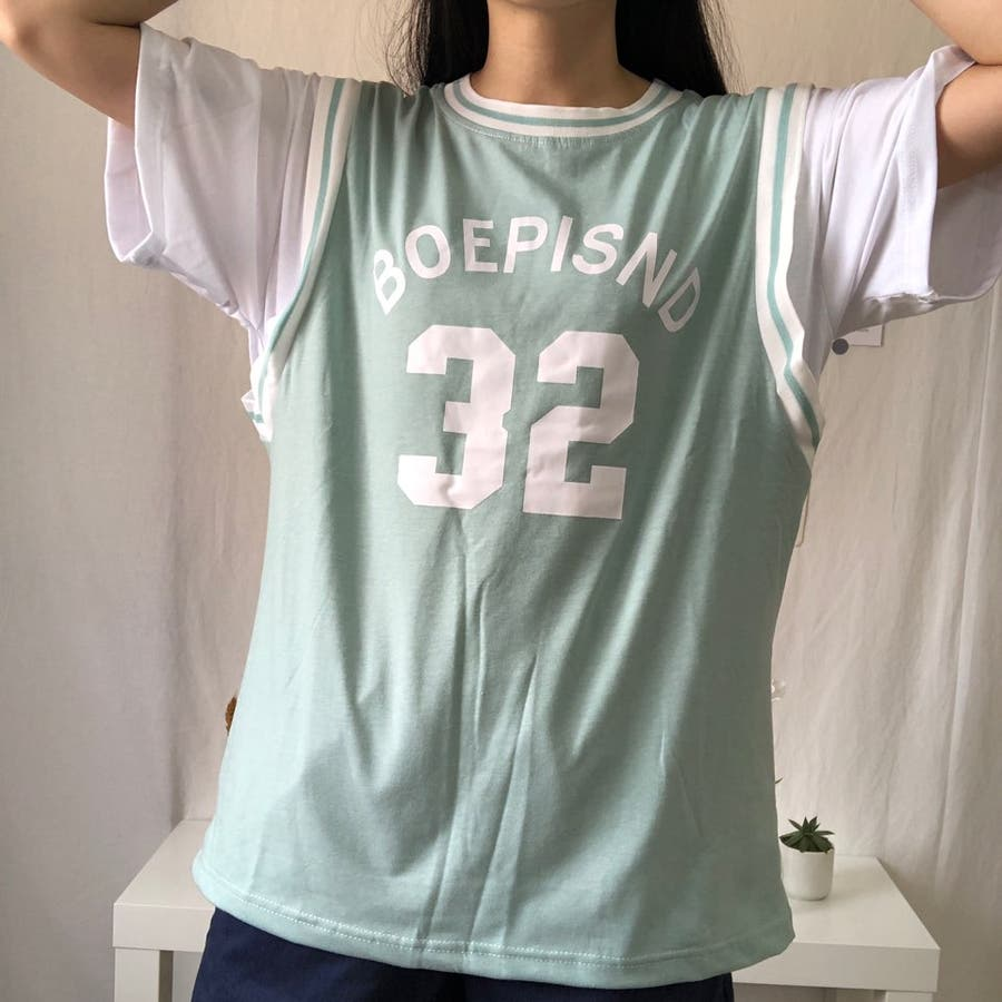 ユニフォーム風Tシャツ バスケ ユニフォーム風 Tシャツ 韓国 オーバーサイズ オルチャン  5