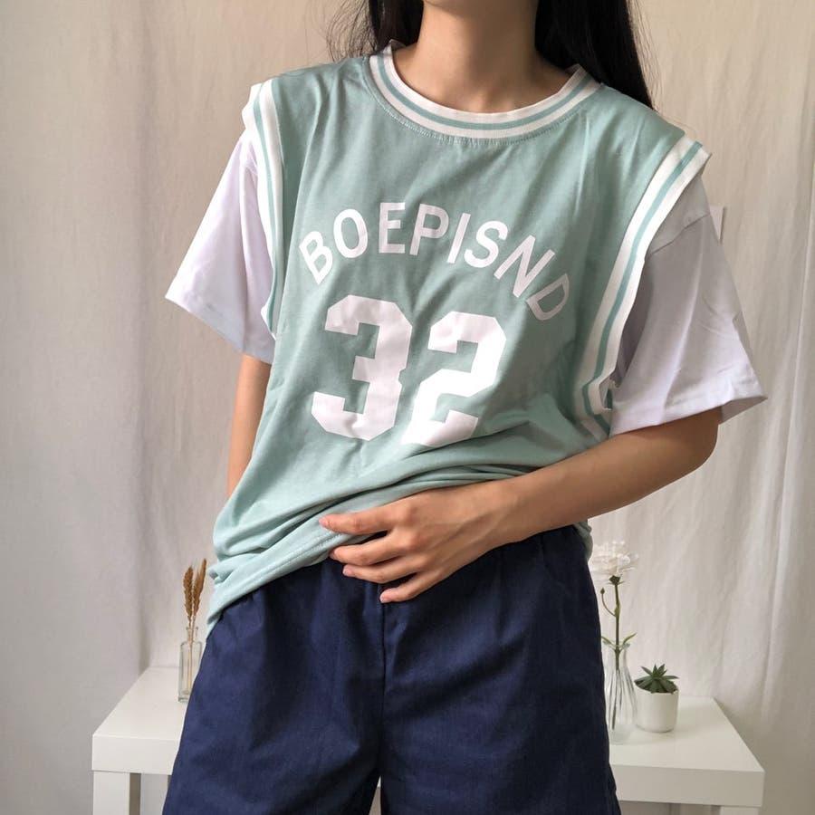 ユニフォーム風Tシャツ バスケ ユニフォーム風 Tシャツ 韓国 オーバーサイズ オルチャン  6