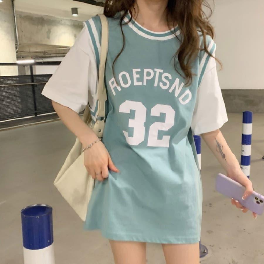 ユニフォーム風Tシャツ バスケ ユニフォーム風 Tシャツ 韓国 オーバーサイズ オルチャン  58