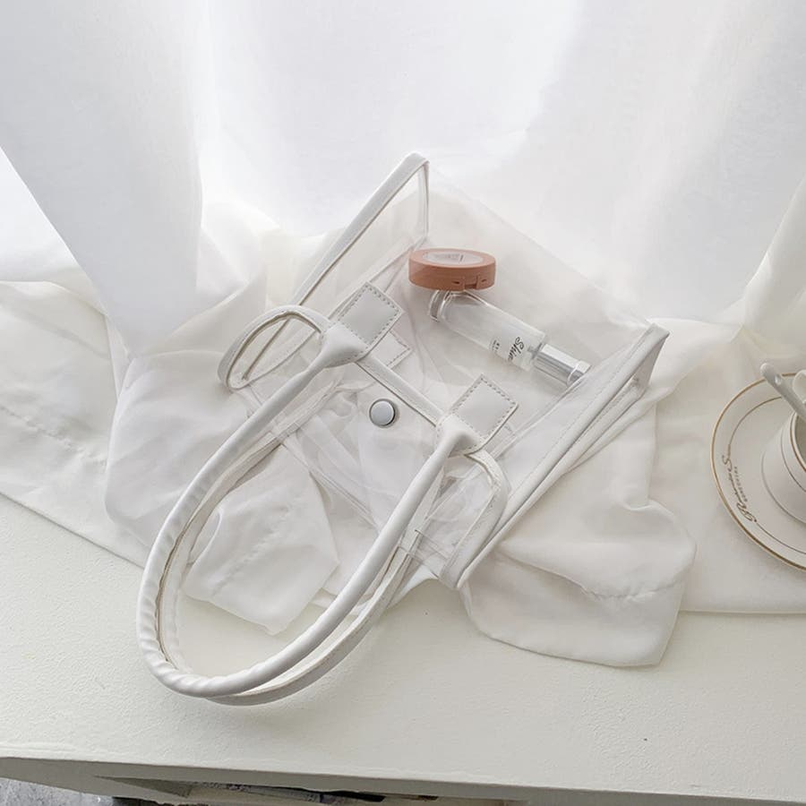 クリアバッグ 手提げ カバン 透明 小さめ 軽い ホワイト 白 夏 2