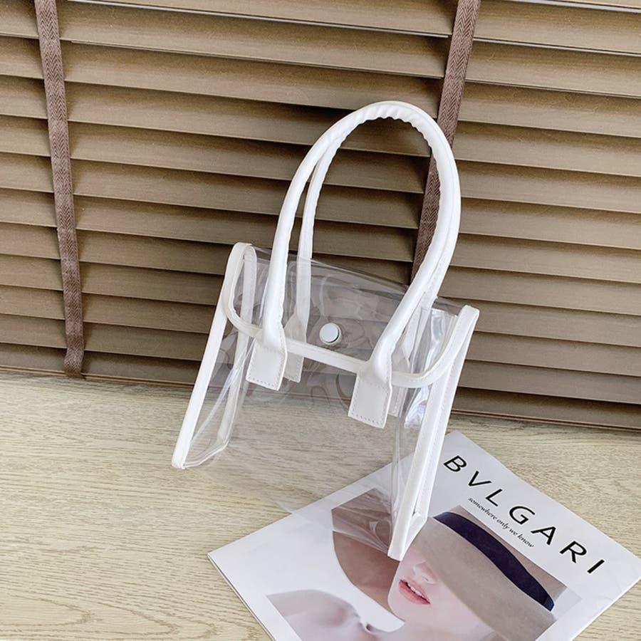 クリアバッグ 手提げ カバン 透明 小さめ 軽い ホワイト 白 夏 4
