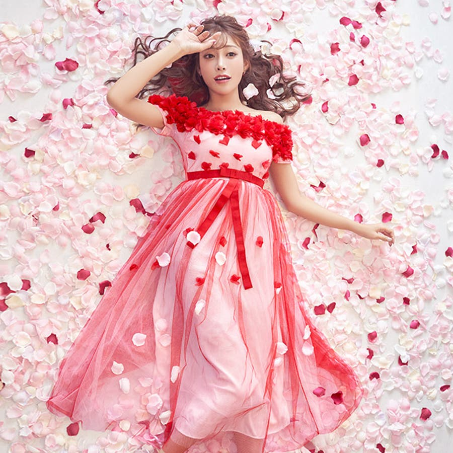 fe9db1921dd6b Tika ティカ 贅沢フラワーオフショルチュールシフォンロングドレス ...