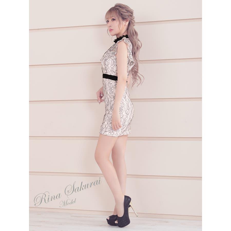 Tika ティカ キャバドレス さくりな ミニドレス タイトドレス ハイネック バストカット レース S-XLサイズ 大きいサイズホワイトライトブルー 無地 ワンカラー 7