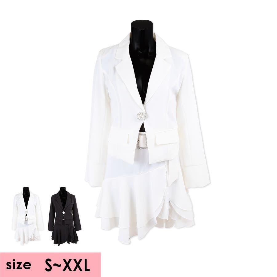 Tika ティカビジューブローチ付きフレアレーススカートセットアップスーツ(ホワイト/ブラック)(Sサイズ/Mサイズ/Lサイズ/XLサイズ/XXLサイズ)黒 白 大きいサイズ スカート ジャケット セクシー上品 美脚 着回しパーティー お呼ばれ キャバ キャバ嬢 16