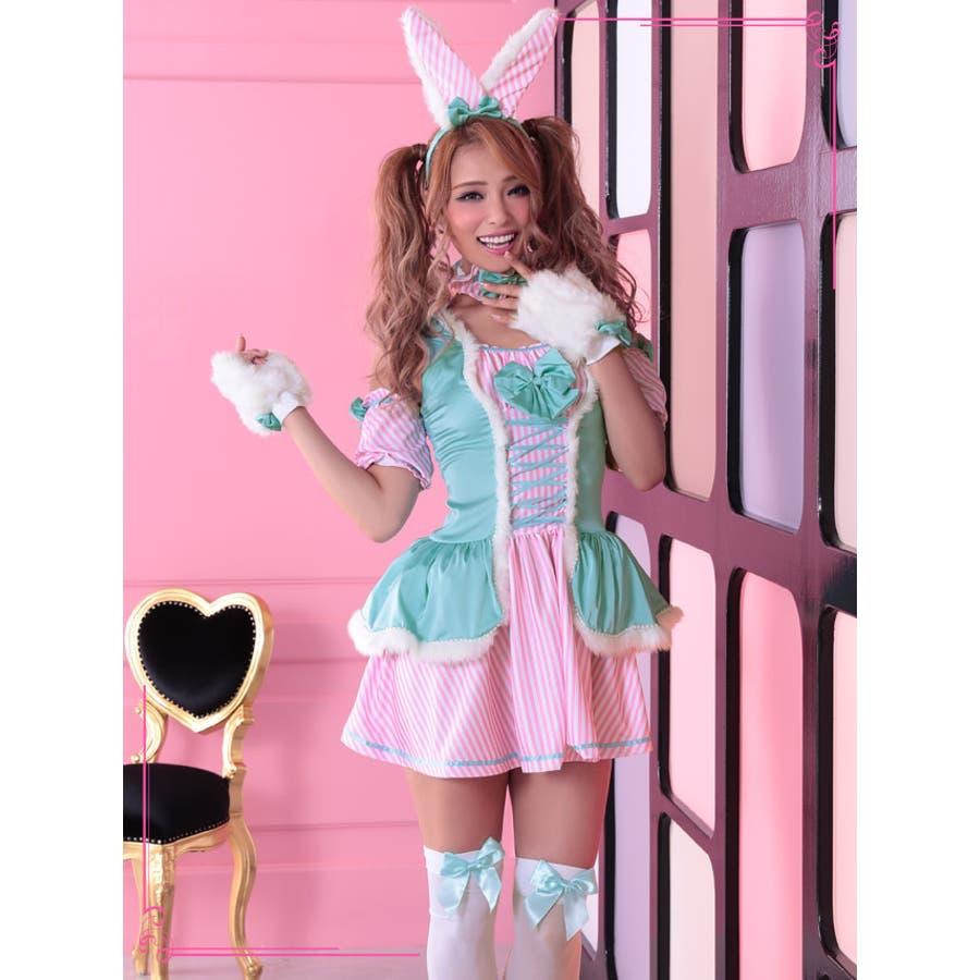 Tika ティカ7点setストライプウェイトレス風バニーガールコスチュームセット(ワンピース+チョーカー+カチューシャ+ニーハイソックス+しっぽリボン+アームカバー+グローブ)ミント ピンク かわいい キュート コスプレ cosplay costume ハロウィン イベント インスタ映え 5