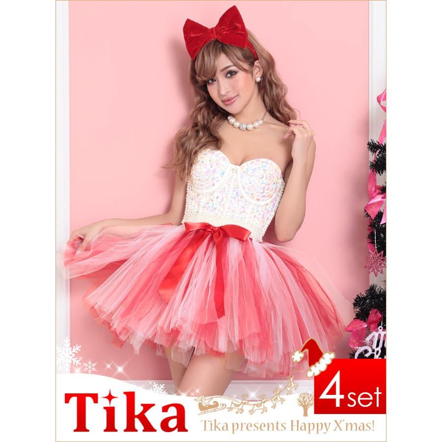 bdcd1500c083c Tika ティカ サンタ 衣装 5set バイカラーチュールコルセットサンタ ...