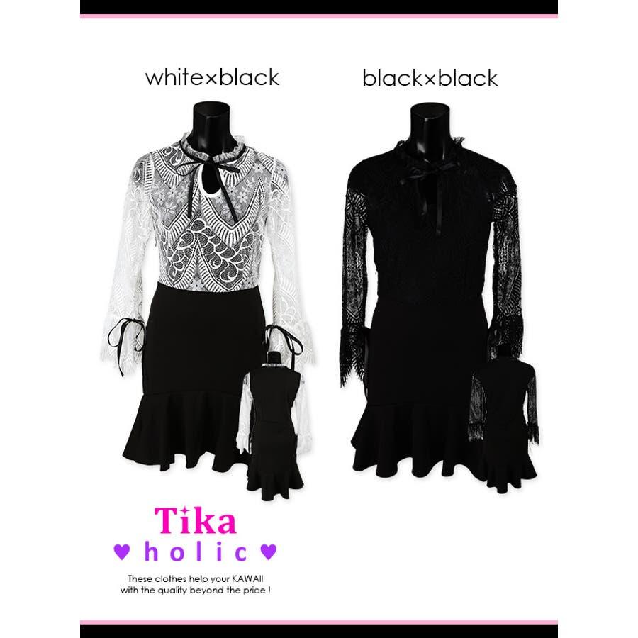Tikaholic ティカホリック キャバドレス リボン七分袖レース切替ミニドレス (ホワイト×ブラック/ブラック×ブラック)(Mサイズ) 黒 白大人レディース かわいい 上品 フェミニン ガールー セクシー 体型カバー パーディー お呼ばれ 普段使い キャバキャバドレスキャバ嬢 6