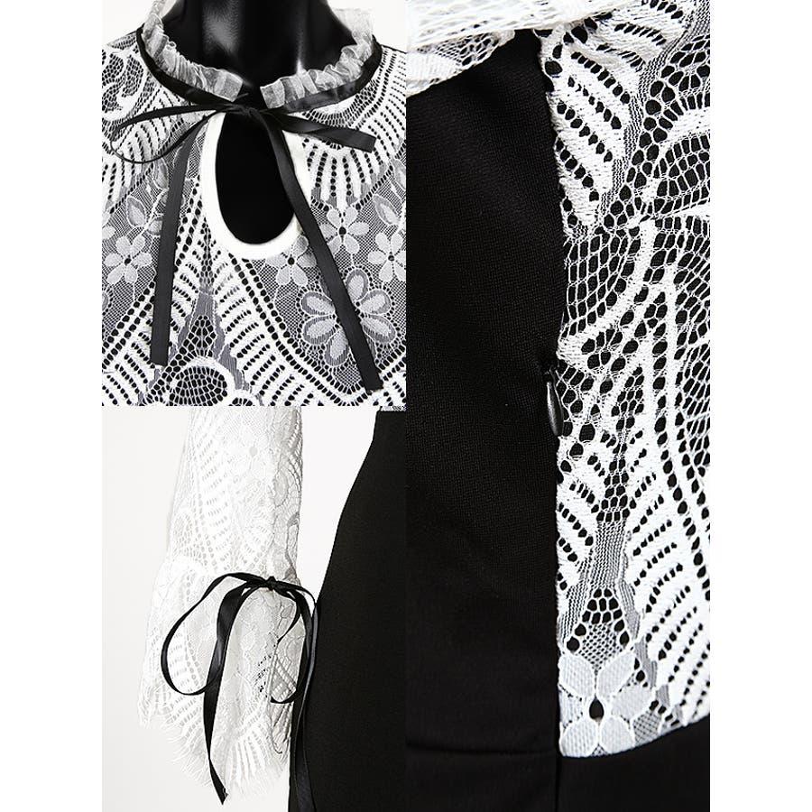 Tikaholic ティカホリック キャバドレス リボン七分袖レース切替ミニドレス (ホワイト×ブラック/ブラック×ブラック)(Mサイズ) 黒 白大人レディース かわいい 上品 フェミニン ガールー セクシー 体型カバー パーディー お呼ばれ 普段使い キャバキャバドレスキャバ嬢 8