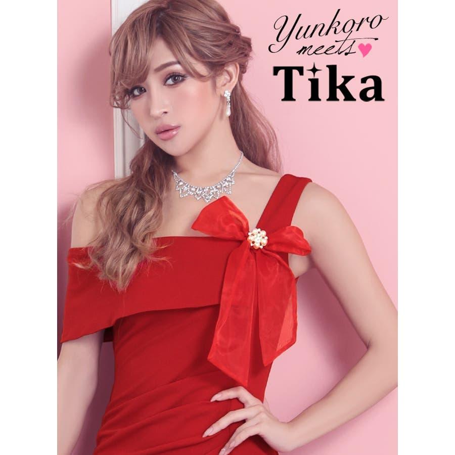 cbe4cf99b660c ゆんころ ドレス着用 Tika ティカ ワンショルダーフラワーモチーフ ...