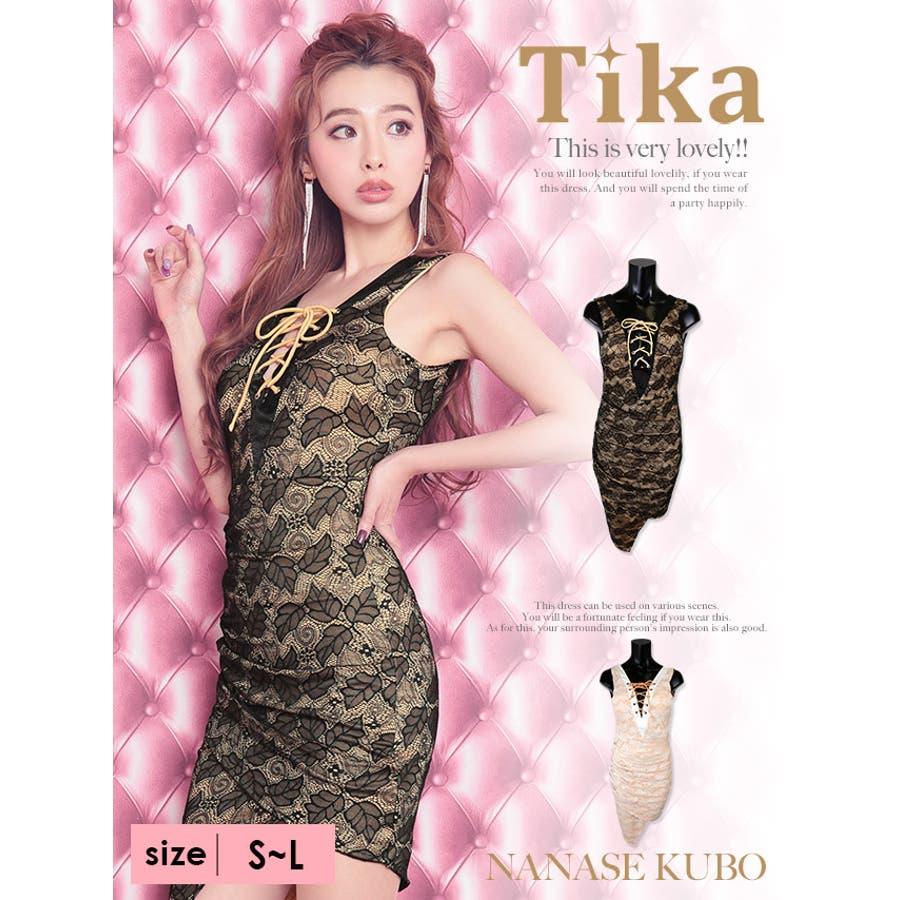 037c513675f3d Tika ティカ 胸元編み上げ総レースリーフデザインタイトミニドレス ...