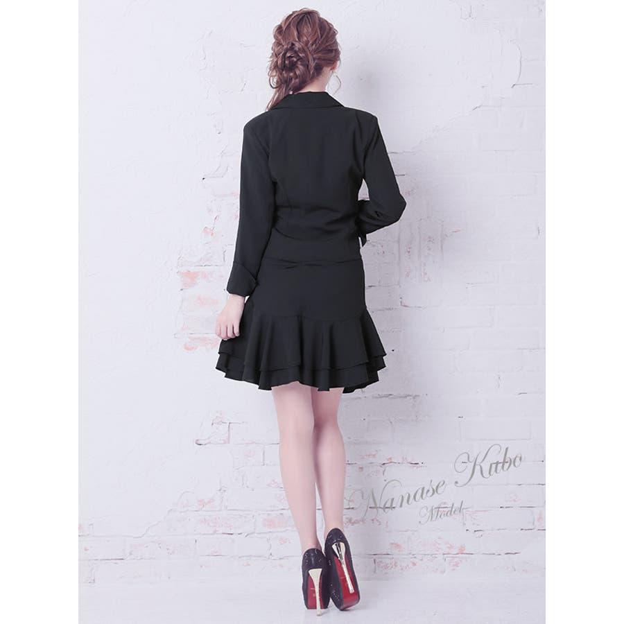 Tika ティカビジューブローチ付きフレアレーススカートセットアップスーツ(ホワイト/ブラック)(Sサイズ/Mサイズ/Lサイズ/XLサイズ/XXLサイズ)黒 白 大きいサイズ スカート ジャケット セクシー上品 美脚 着回しパーティー お呼ばれ キャバ キャバ嬢 5