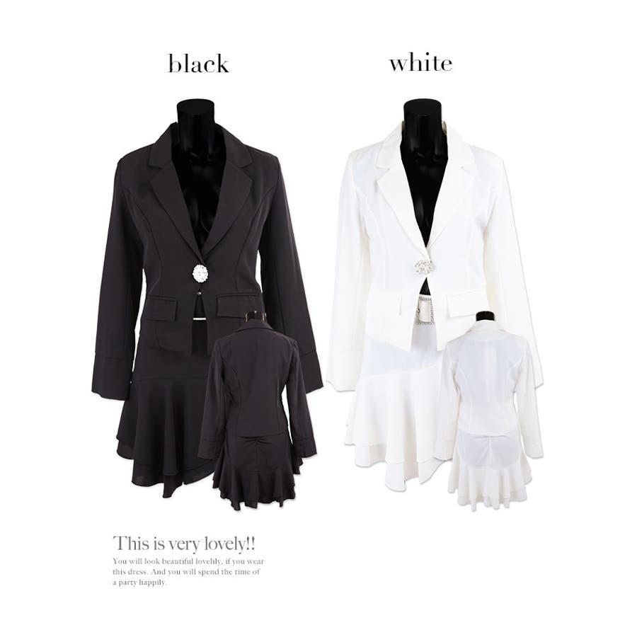 Tika ティカビジューブローチ付きフレアレーススカートセットアップスーツ(ホワイト/ブラック)(Sサイズ/Mサイズ/Lサイズ/XLサイズ/XXLサイズ)黒 白 大きいサイズ スカート ジャケット セクシー上品 美脚 着回しパーティー お呼ばれ キャバ キャバ嬢 6