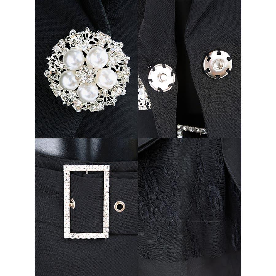 Tika ティカビジューブローチ付きフレアレーススカートセットアップスーツ(ホワイト/ブラック)(Sサイズ/Mサイズ/Lサイズ/XLサイズ/XXLサイズ)黒 白 大きいサイズ スカート ジャケット セクシー上品 美脚 着回しパーティー お呼ばれ キャバ キャバ嬢 8